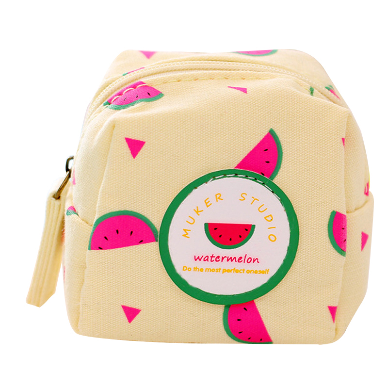 Fresh Style Creative Cubic Fruit Canvas Coin Purse Key Wallet Storage Organ B5Z7