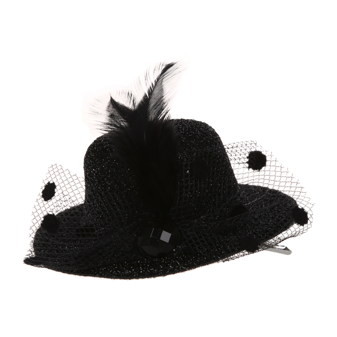 Feather Net Bow Hair Clip Black Mini Top Hat Party Lolita Cosplay Goth DT