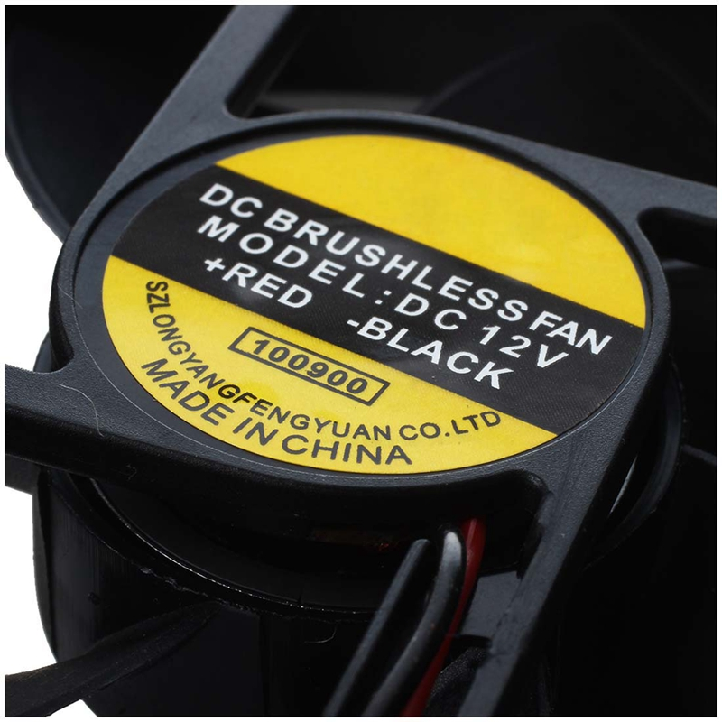 Black Plastic Square 9025 90 x 90 x 25mm DC 12V 0.25A Cooler Fan P1L8