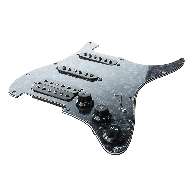Electric Guitar Pickguard Pickups Loaded Prewired 11 Hole SSH Black ...