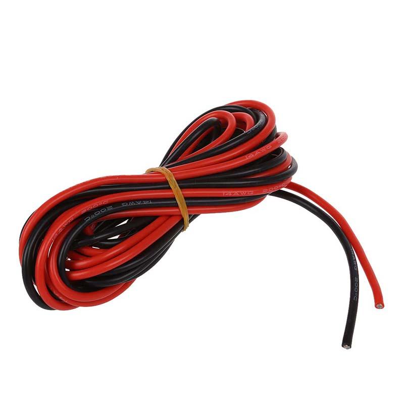 2 X 3M 14 Gauge AWG Silikon Gummi Draht Kabel Rot & Schwarz G2R4 RU ...