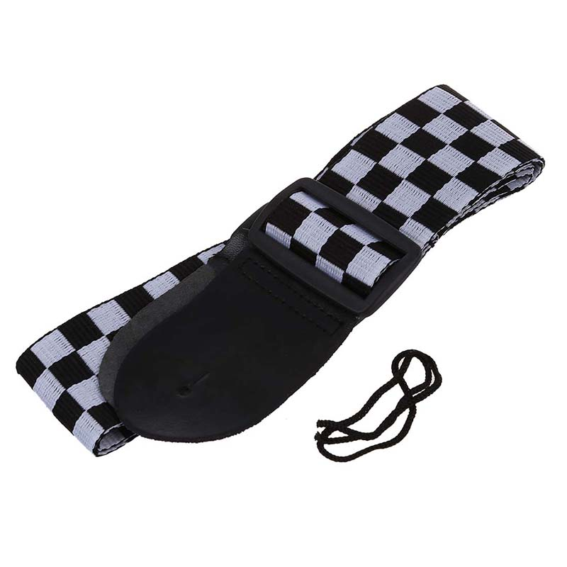 La-correa-blanca-y-negra-de-la-bandera-del-inspector-para-el-instrumento-musical