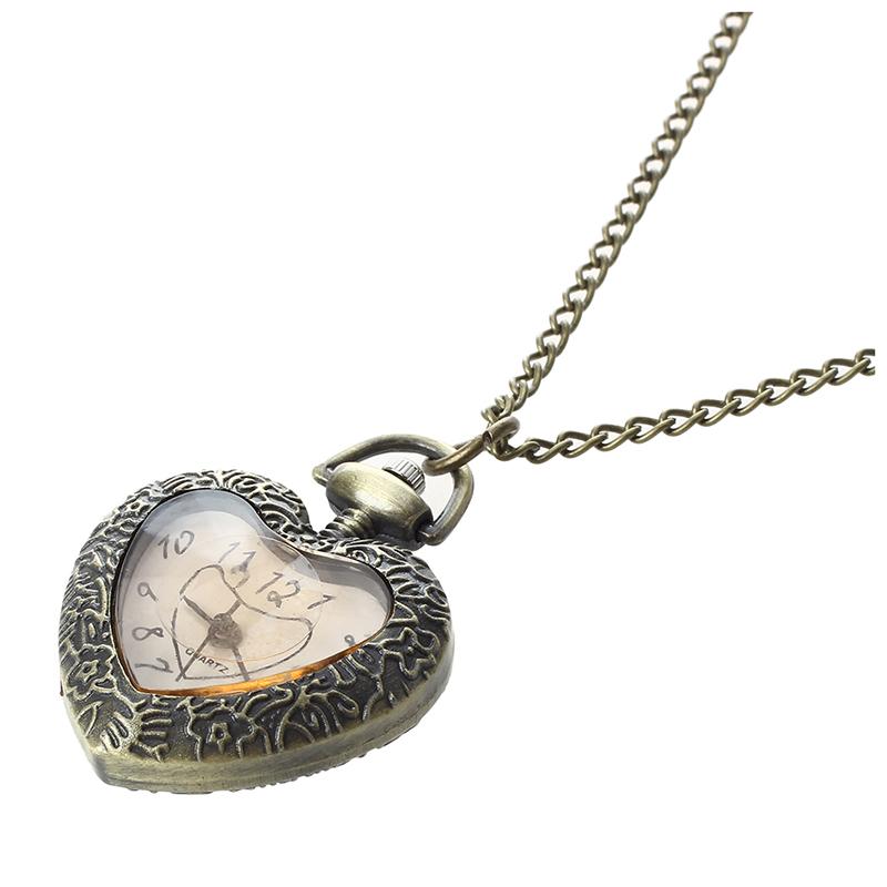 c0c238f3334 1X(En forme de coeur collier pendentif chaine montre de poche de mouvement  a quartz. Style vintage