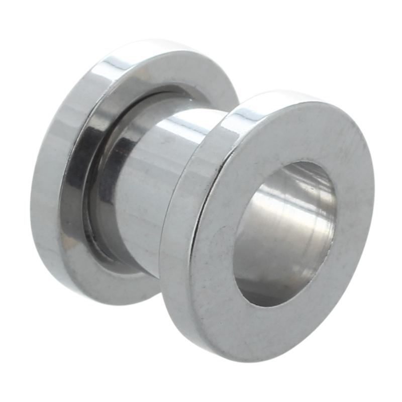 2X-Silver-Steel-Gauge-Earring-Punk-Flesh-Tunnel-Ear-Plugs-Rimmed-Flat-Style2O1 thumbnail 3