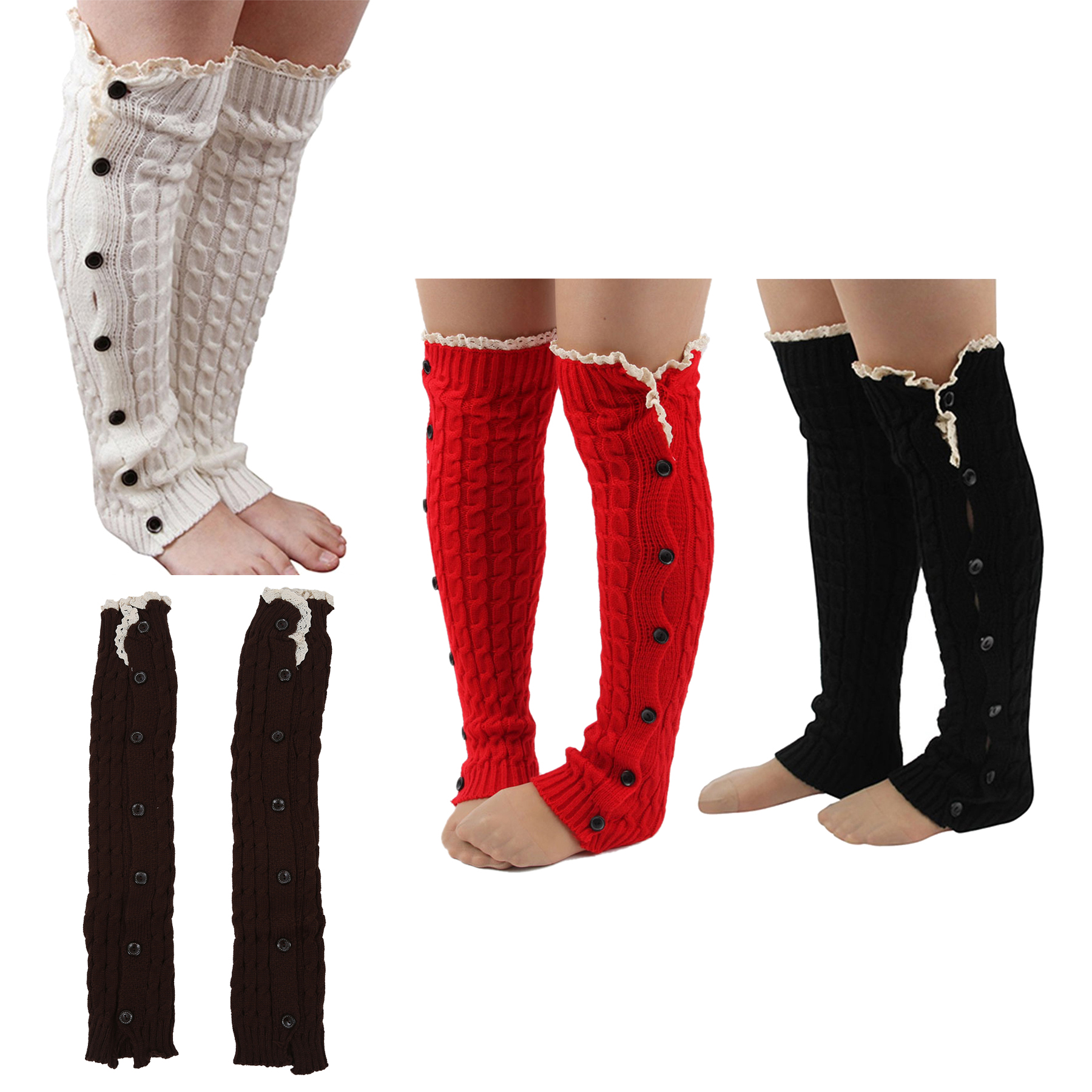 frauen crochet strickbeinlinge knopf spitzen schneiden stiefelsocken rot q6l3 ebay. Black Bedroom Furniture Sets. Home Design Ideas
