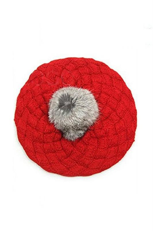 Bebe Enfants bonnet fait a la main tresse chapeau Beret -Rouge M1I7 ... 2b897075dc6