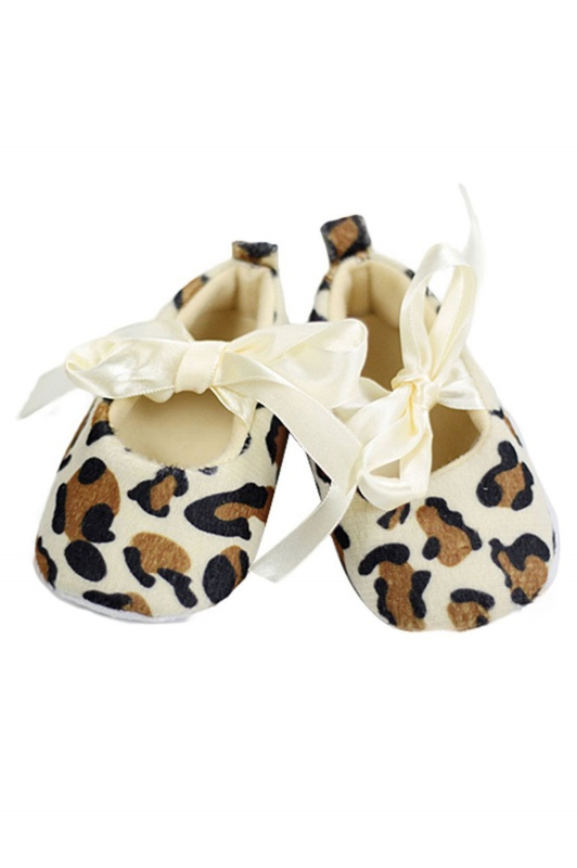 Zapatos suaves de caminar de patron de leopardo para bebe recien ...