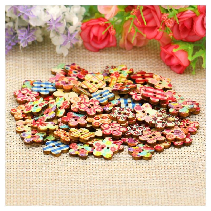 Colores-Boutons-de-fleurs-en-bois-Scrapbooking-bricolage-I5J3 miniature 3