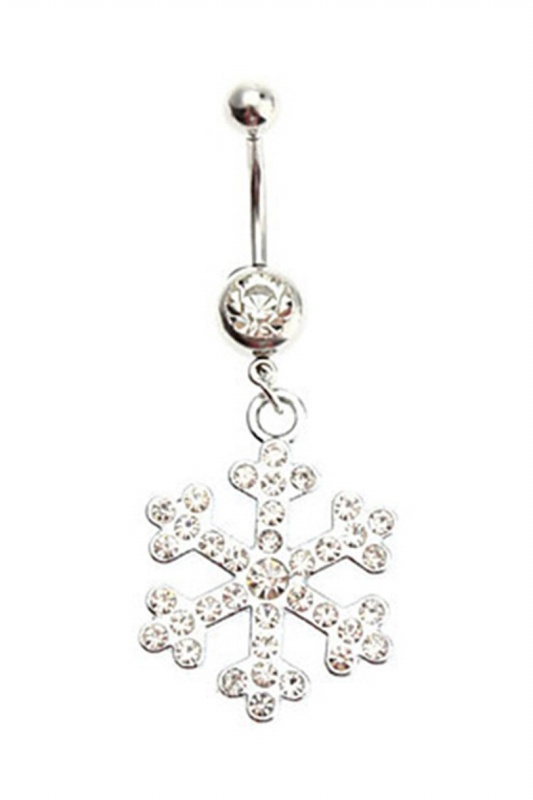 Ladies Fashion Stainless Steel Rhinestone Snowflake Belly Button Ring Jewel V4M0