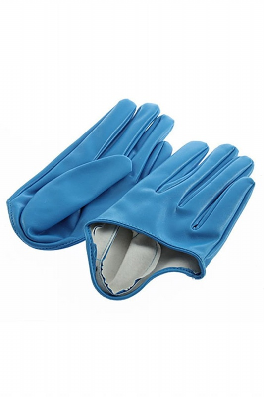 Ladies-leather-gloves-Five-finger-half-palm-Blue-E2D9