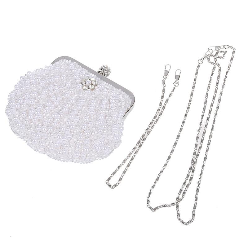Elegant-Perlen-Brauttasche-Clutch-Bag-Party-Abendtasche-Muscheltasche-Weiss-P2D7