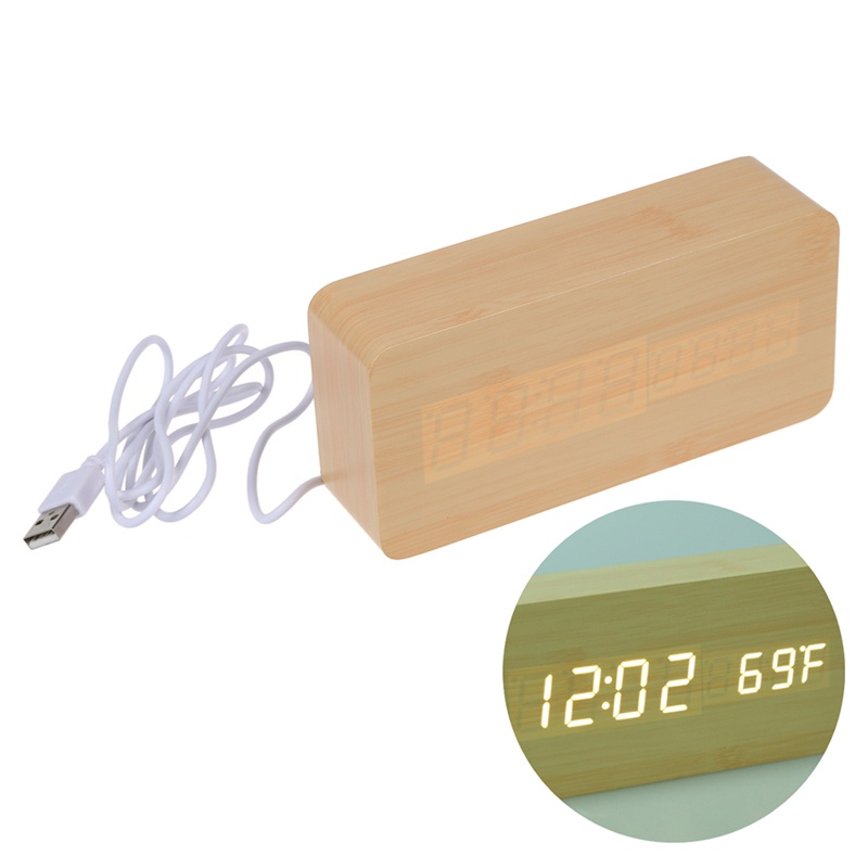 Voice-Control-Calendar-Thermometer-Rectangle-Wood-Wooden-LED-Digital-Ala-X6P8 thumbnail 8