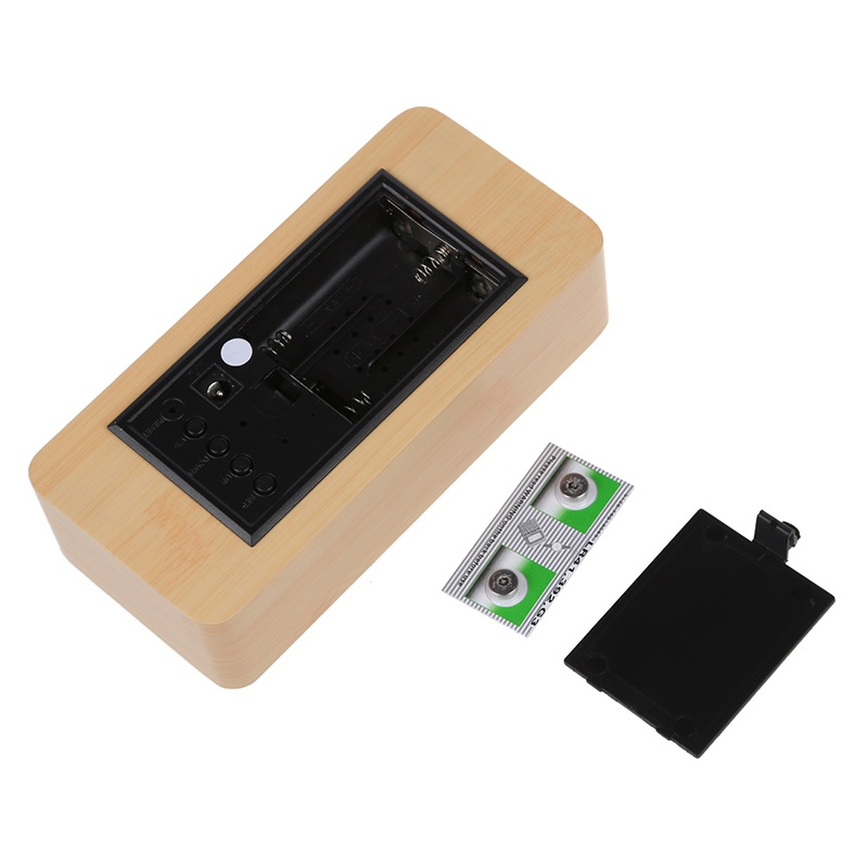Voice-Control-Calendar-Thermometer-Rectangle-Wood-Wooden-LED-Digital-Ala-X6P8 thumbnail 9