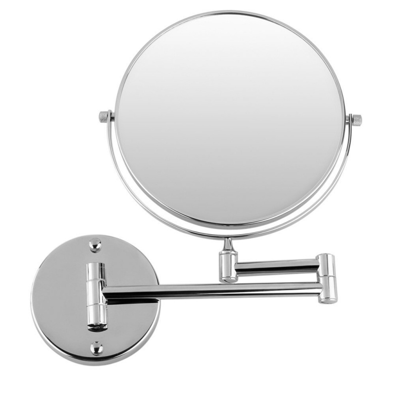 Image Is Loading Chrome Wall Mounted Extending Mirror 3x Magnification Bathroom