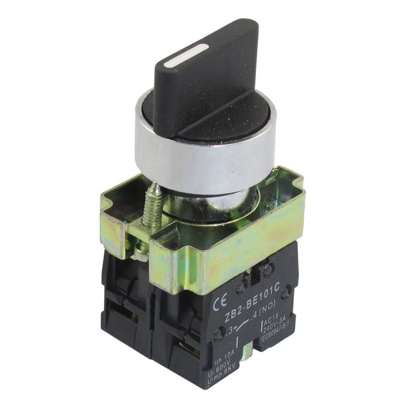 22mm Latching 2 NO 3-Position Rotary Selector Select Switch ZB2-BE101C Blac M8G3