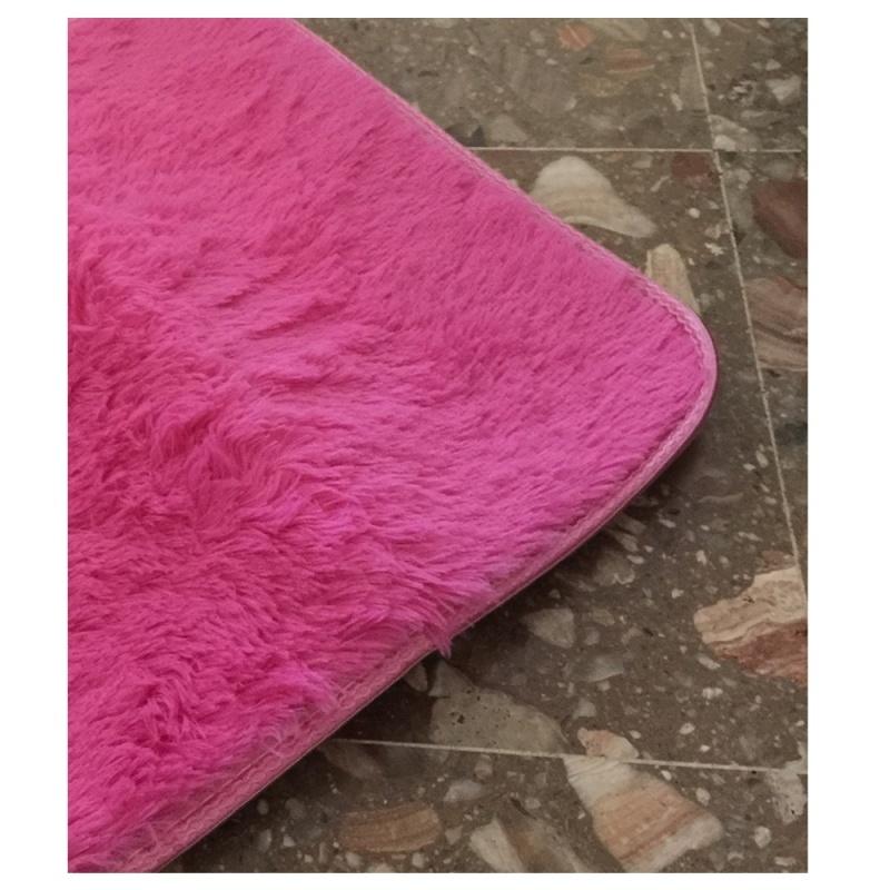 Tapis-pour-la-Maison-le-Salon-la-Chambre-Tapis-de-Peluches-rouge-rose-40-x-T1W8 miniature 5