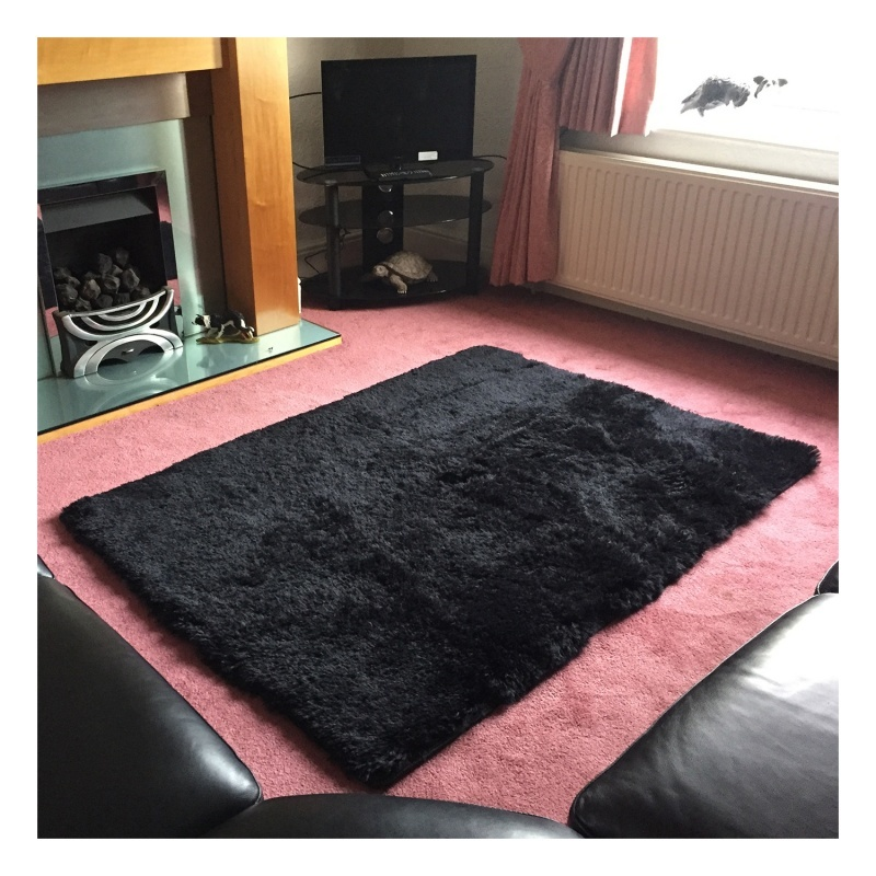 Home Rugs Living Bedroom Plush Black 40 40cm A4s6