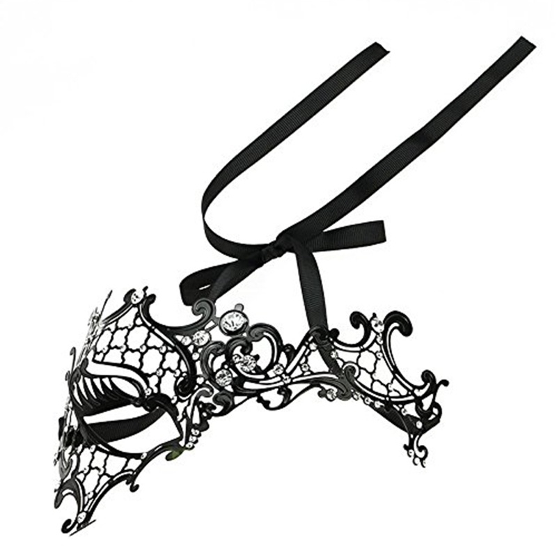 Mascara-de-fantasma-de-filigrana-de-metal-brillante-para-mascarada-venecian-Z5J8 miniatura 5