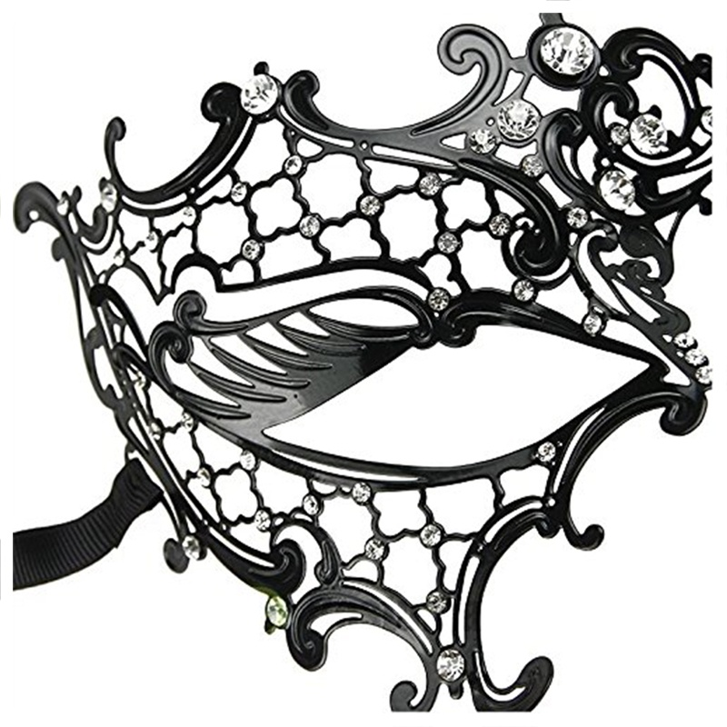 Mascara-de-fantasma-de-filigrana-de-metal-brillante-para-mascarada-venecian-Z5J8 miniatura 6