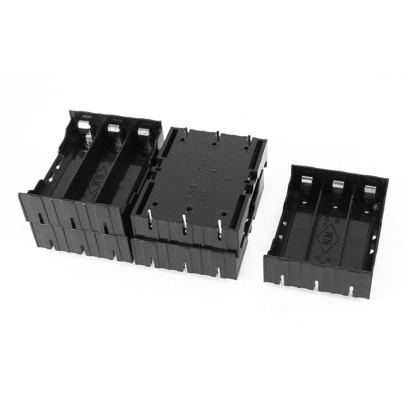 5 Pcs Black Plastic 3 x 3.7V 18650 Batteries 6 Pin Battery Holder Case D6O8