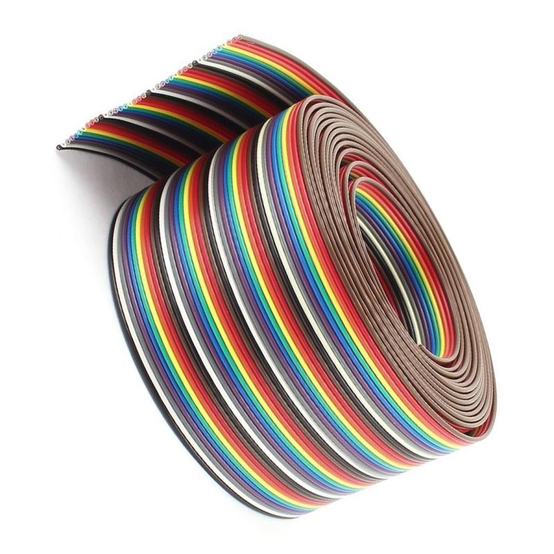 5X-10-pies-40-vias-40-pines-Cable-de-cinta-plano-IDC-de-color-del-arco-iris-O7Z5
