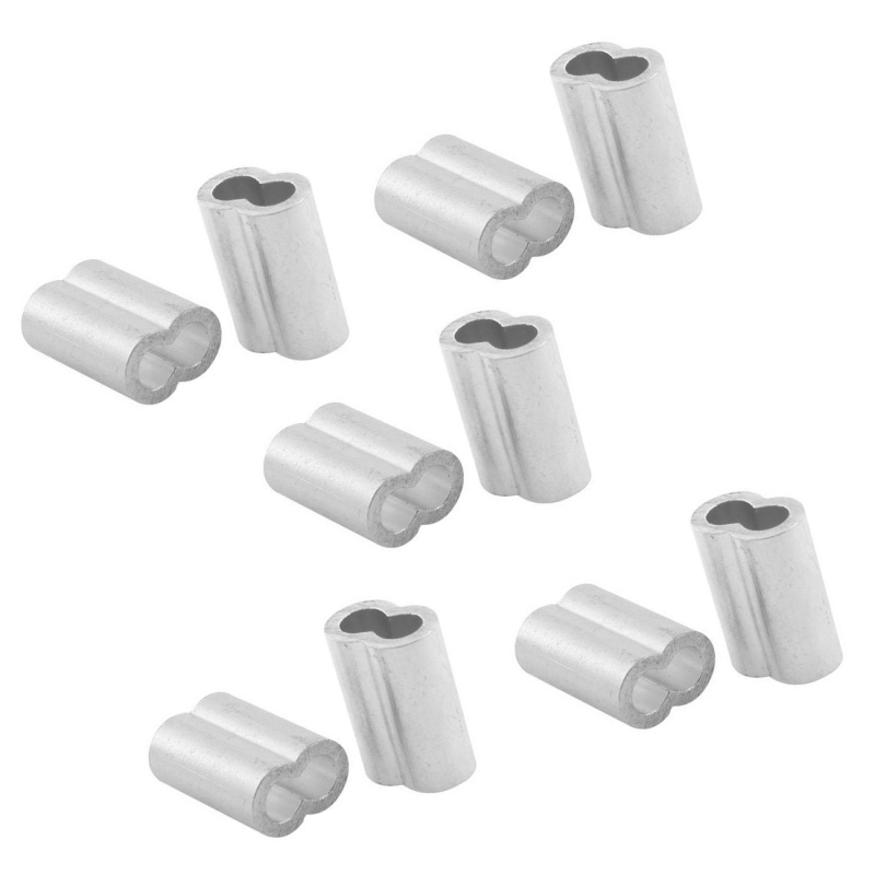 5X(Aluminum Sleeve for 1/4 Inch Steel Wire Rope Swage Clip 10pcs ...