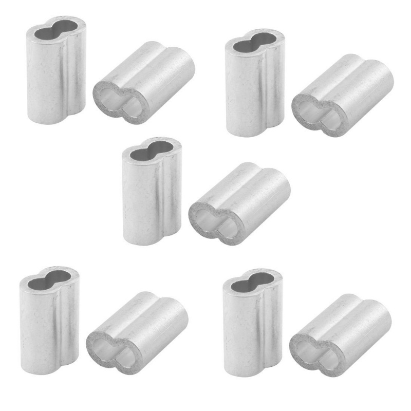 Aluminum Sleeve for 1/4 Inch Steel Wire Rope Swage Clip 10pcs U2C9 ...
