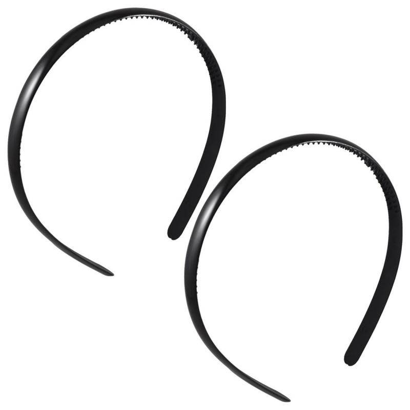 2pzs-Negro-Aro-del-pelo-de-dientes-de-doble-hilera-de-marco-de-plastico-Banda-R6