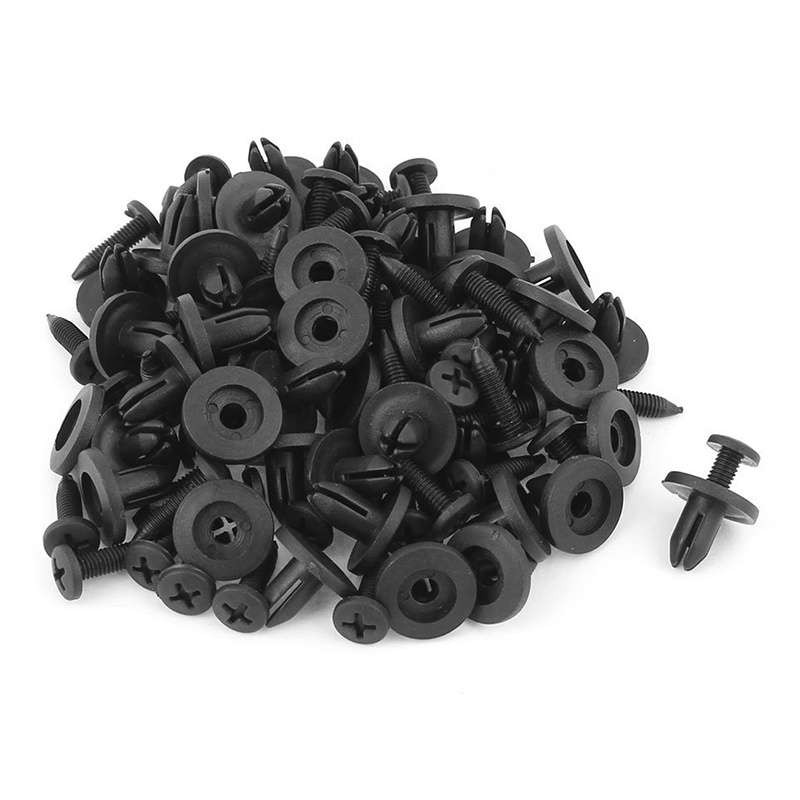 50-Pzs-6mm-agujero-Clip-pinza-de-parachoques-remache-tipo-embebido-plastico-t7Z5