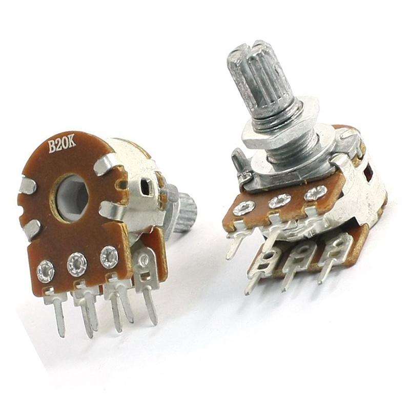 2pzs-B20K-20K-Ohm-8mm-eje-Potenciometro-lineal-dual-montado-en-PCB-X3W2