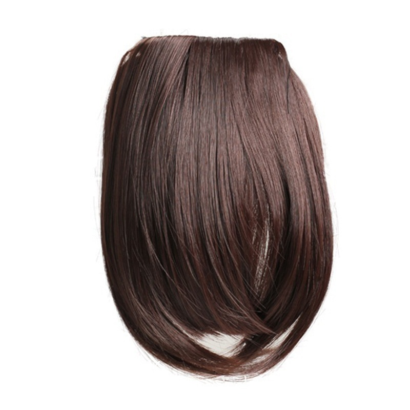1x Charming Clip On Bangs Fringe Dark Brown Clip Hair Extension Lady