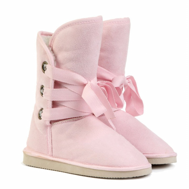 Winter-Fake-Firn-Nobuts-Women-039-s-Biker-Snow-Boots-pink-US9-S3F9 thumbnail 3