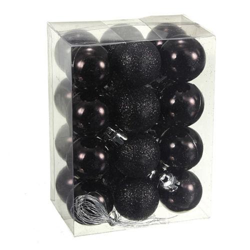 24Pcs-Chic-Natale-Palline-Albero-di-Natale-Glitter-semplice-ornamento-palla-decorati-S5F5 miniatura 4