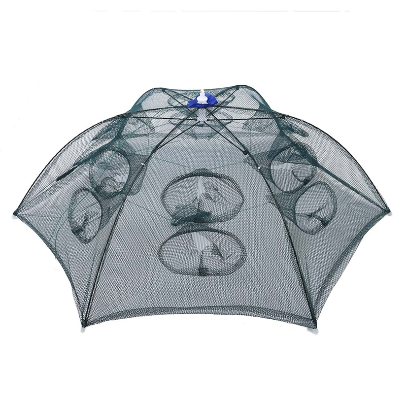 10XTrap Net Fishing Camaron Cage Portable Umbrella Style Foldable with 12 Z6F2