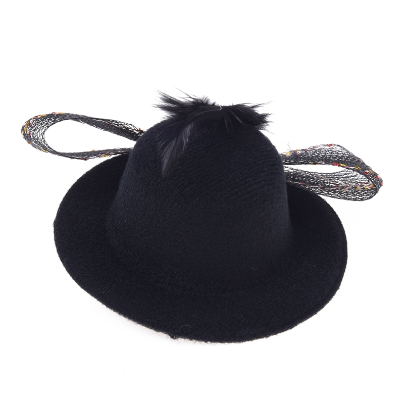 Feather Net Bow Hair Clip Black Mini Top Hat Party Lolita Cosplay Goth M8M3