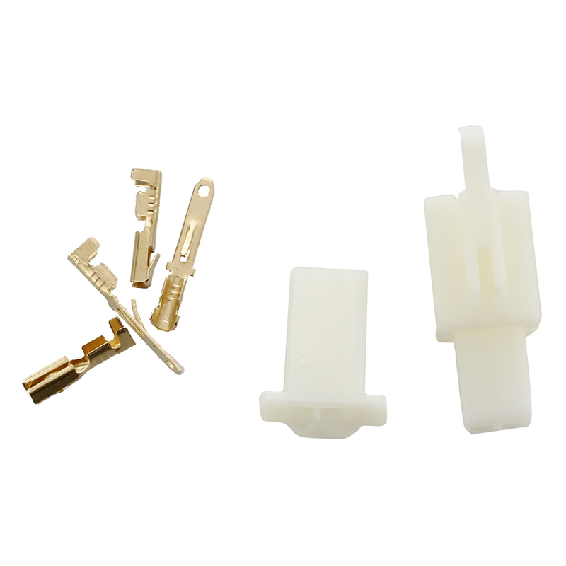 5X Set 2 polig Stecker Steckverbinder Flachstecker 6.3mm Motorrad Roller Auto QP