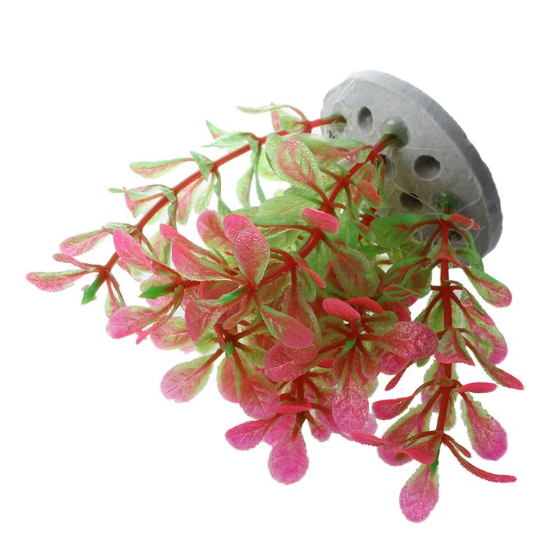 Plastic-Plant-Decoration-for-Aquarium-Fish-Tank-Pink-Green-10cm-A5Y6