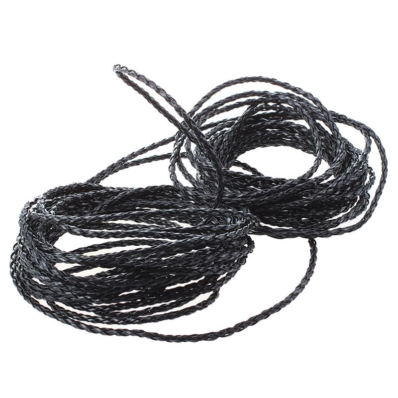 Tissu noir cordon de cuir pour Colliers Bracelet 3mm S7Q6
