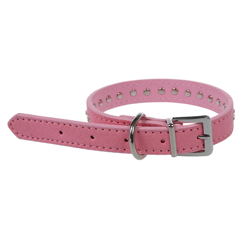 Collar-Correa-Cuero-PU-Color-Rosa-Ajustable-Remache-para-Perro-Mascota-M-V8P7
