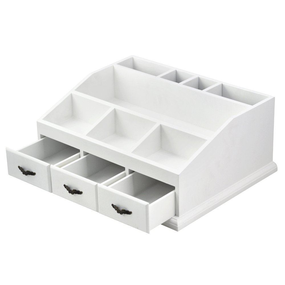 Wooden cosmetic storage display boxes with 3 drawers for Beauty table organiser