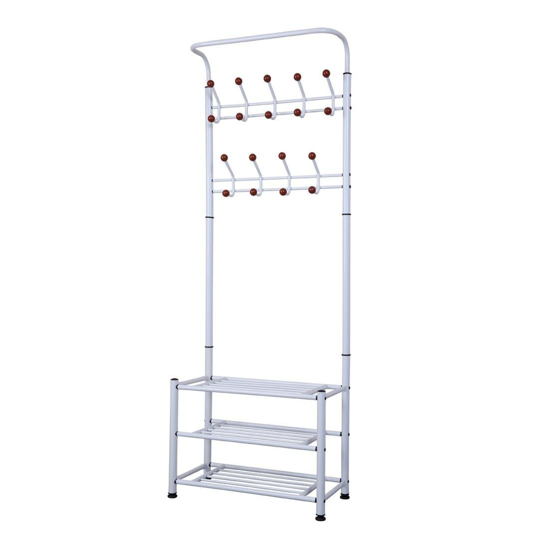 White Metal Coat Stand Shoe Rack