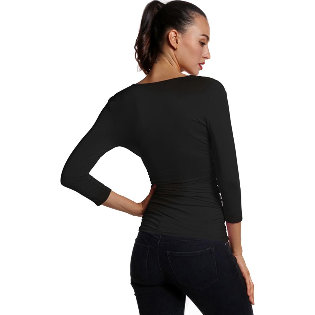 Women 39 s slim v neck solid three quarter sleeve tops t for Womens black v neck t shirt