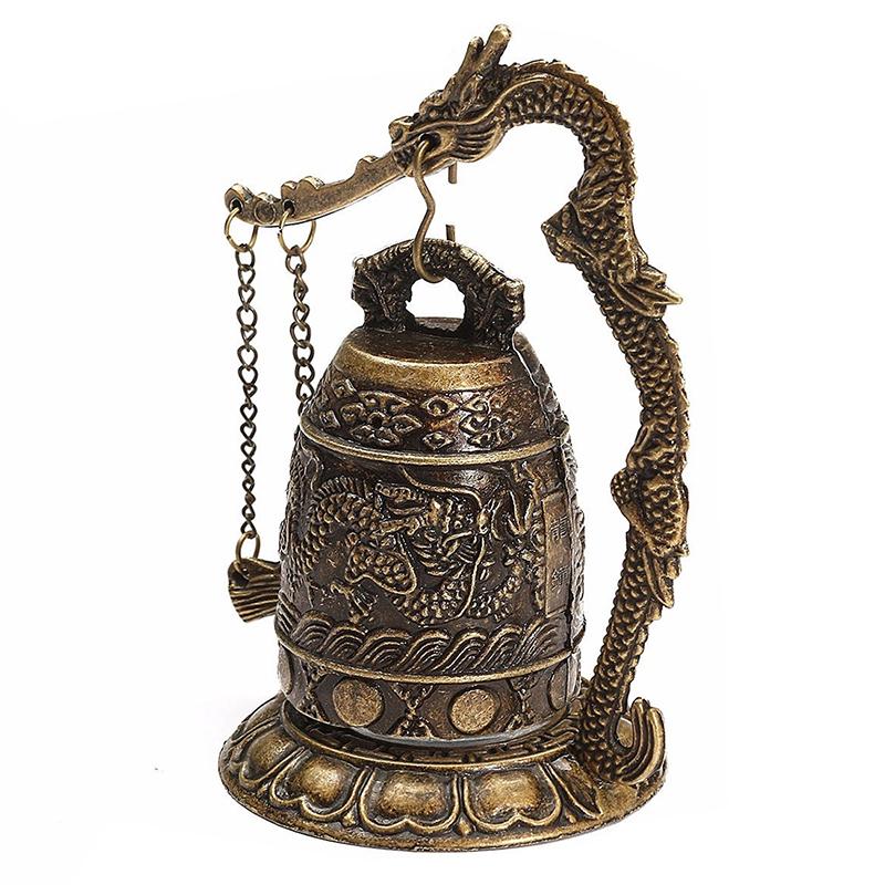 2X-National-Handmade-Brass-Bell-Carved-Dragon-Buddhist-Buddha-039-s-Clock-Bronz-O3P1