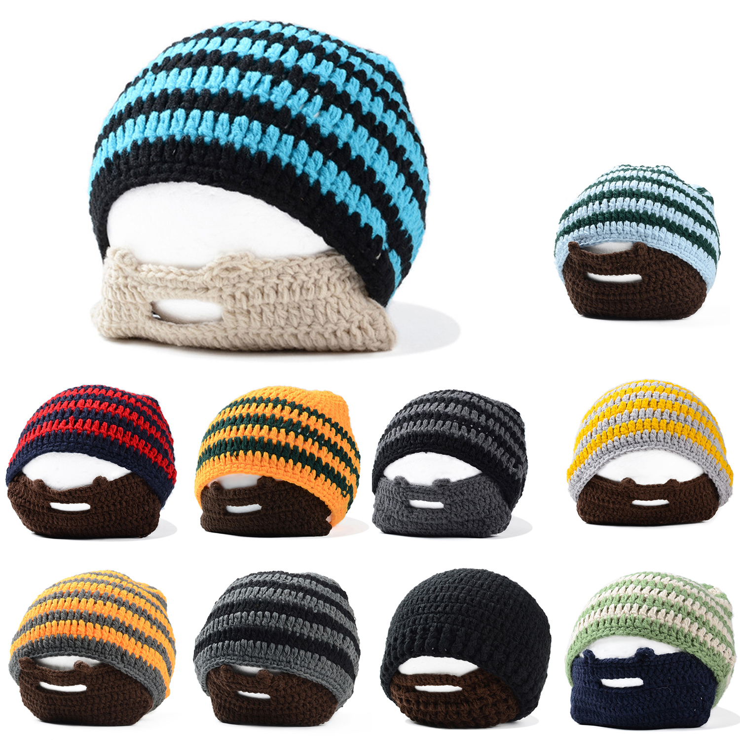 607f12c0825 Details about New Knitted Crochet Beard Hat Striped Bicycle Mask Ski Cap  roman knight octopus