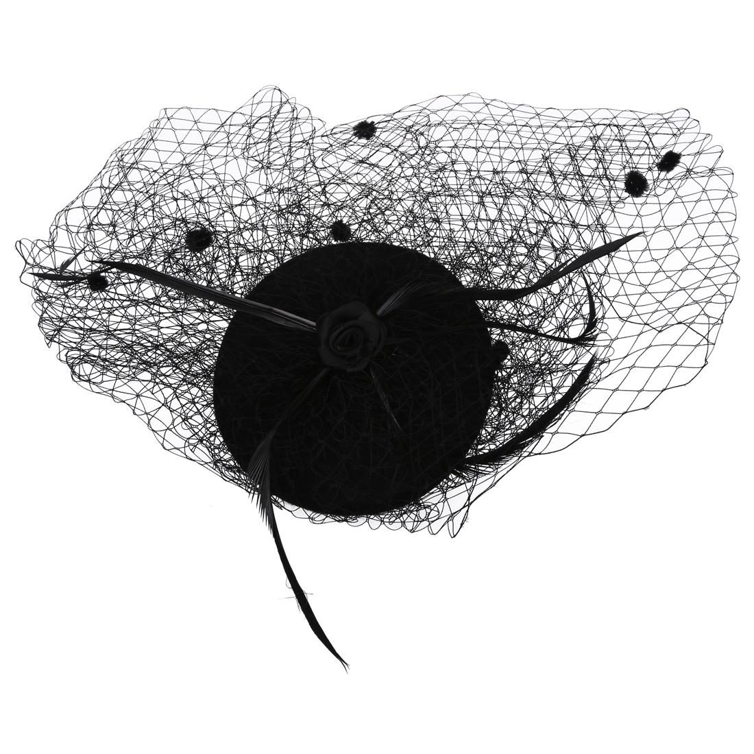 damen haarspange schwarz nettogarn punk burlesque mini hut schwarz ma ebay. Black Bedroom Furniture Sets. Home Design Ideas