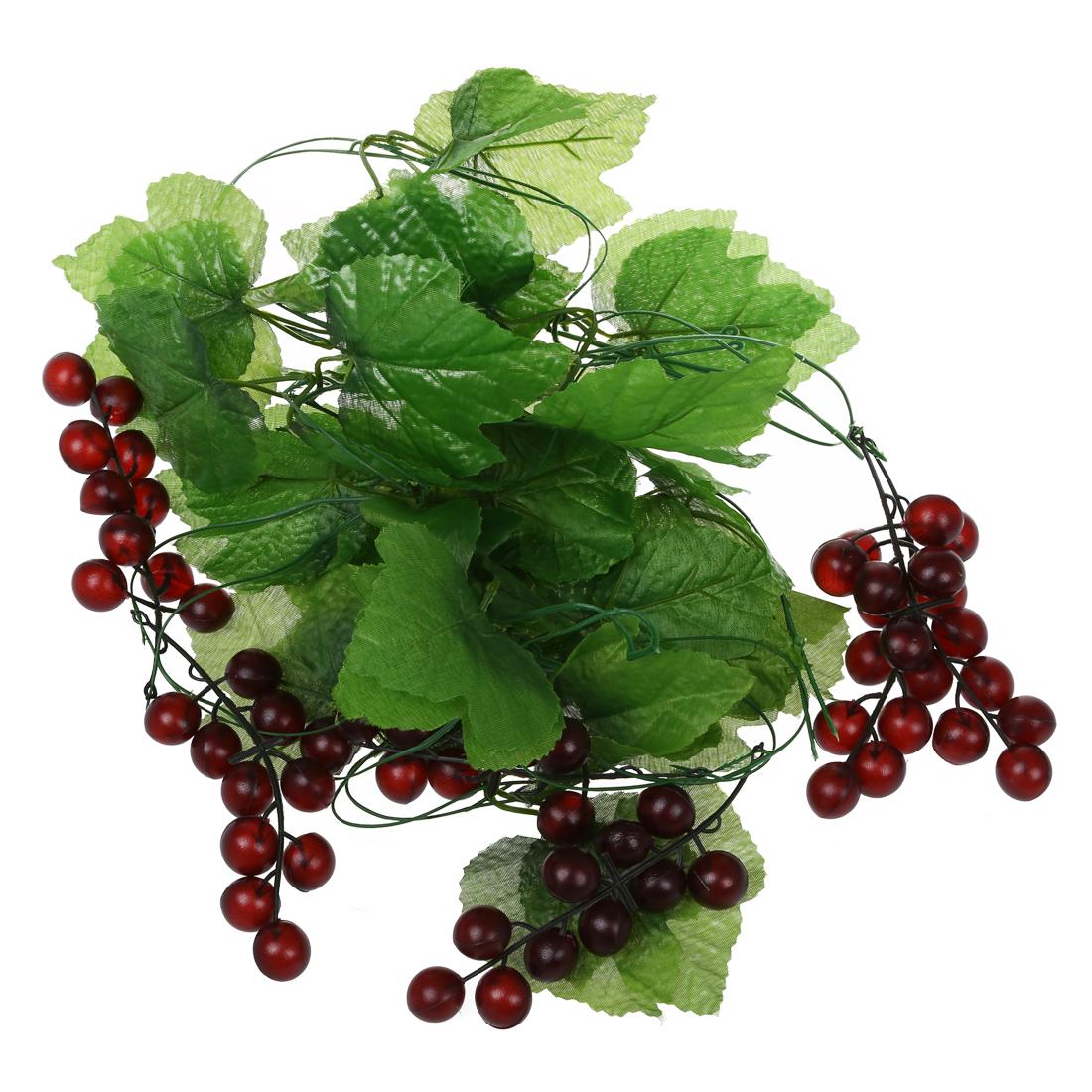 2x artificial grape vine garland fruit for home garden for Artificial cherries decoration