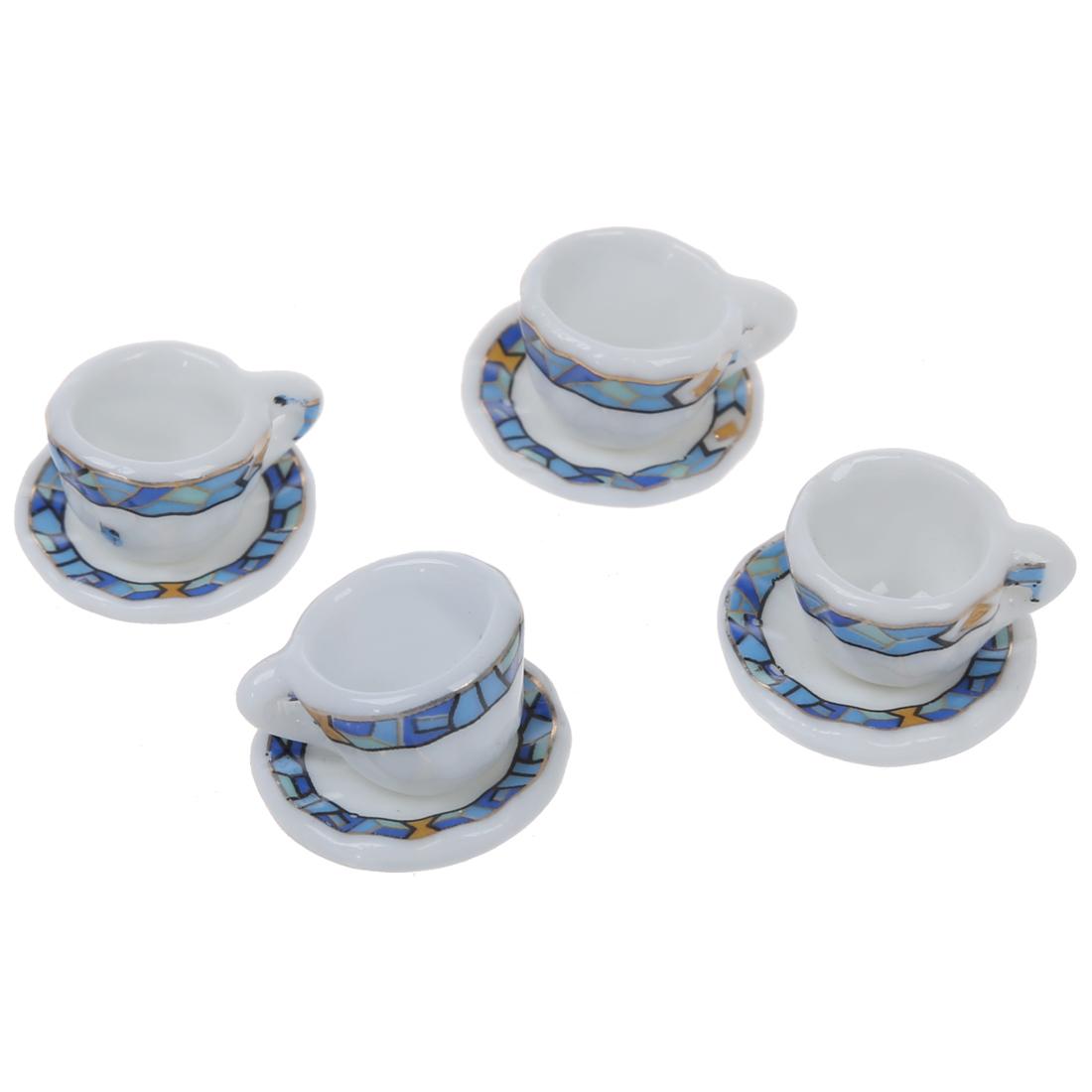 15 stueck miniatur puppenhaus geschirr porzellan tee set. Black Bedroom Furniture Sets. Home Design Ideas