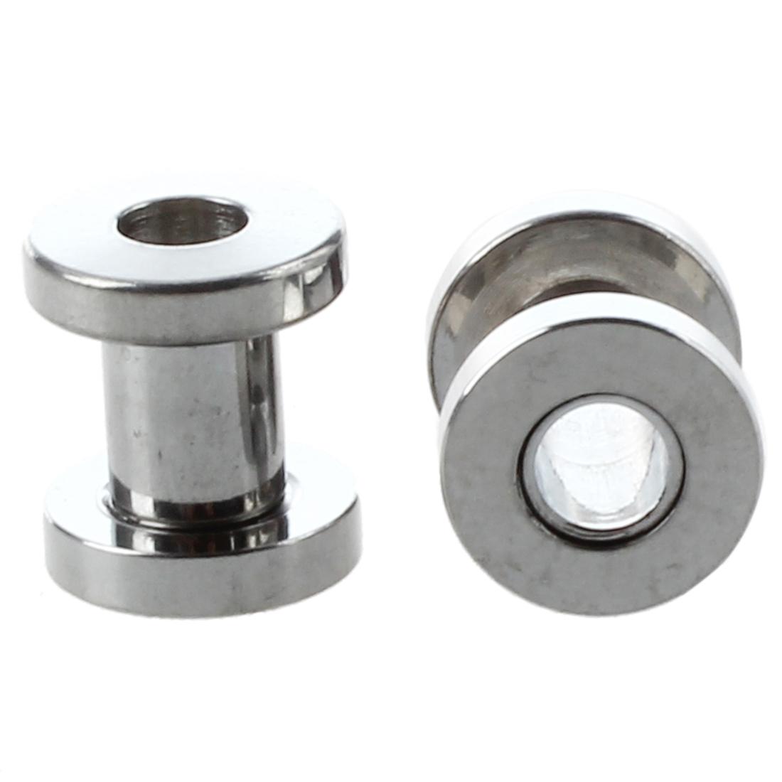 Pair screw fit stainless steel ear plugs rings flesh