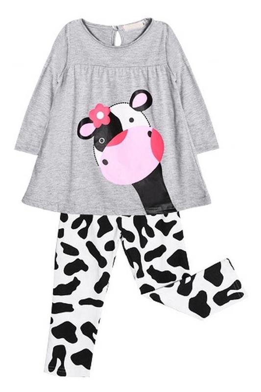 8d21b458aac7b Mignon Bebe Fille Vache Laitiere Pyjamas Enfants longues Hauts Pantalons Te  O9A3