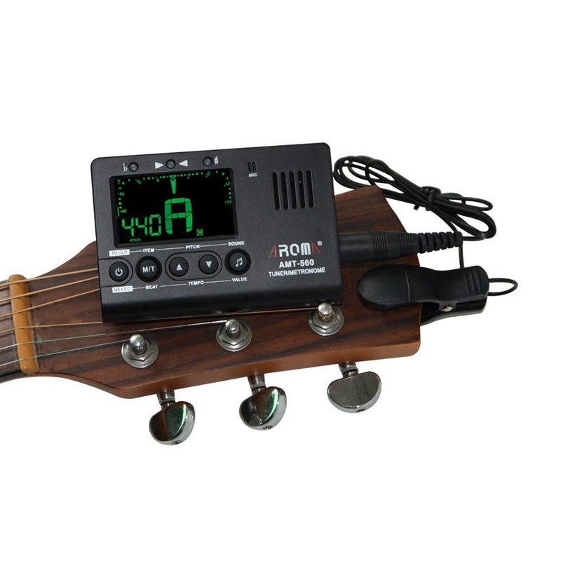 AROMA Universal Electric Tuner /& Metronome Built-in Mic with Pickup Cable 6 T9L4